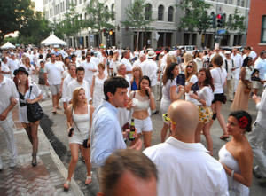 Image of attendees at White Linen Night, which is highly recommended by Joieful in New Orleans, LA