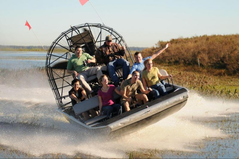 People on an airboat during an airboat tour