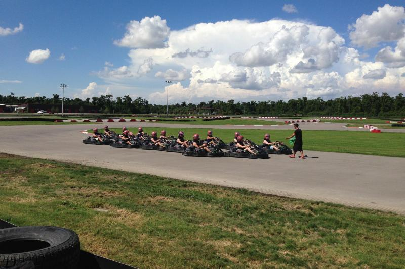 People at a kart track in NOLA