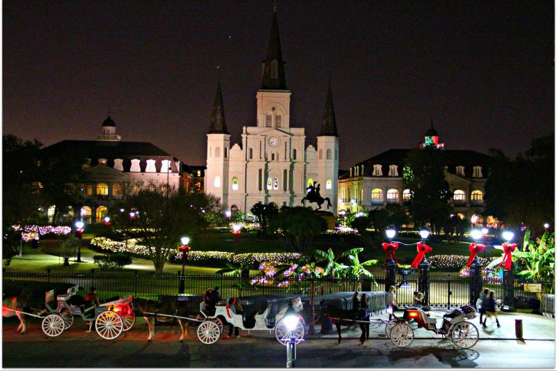 A photo of Jackson Square at Christmas time