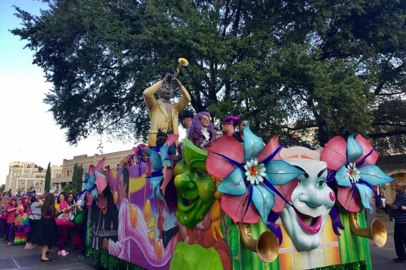 One of the floats at a Mardi Gras parade